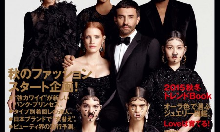 Riccardo Tisci, Kendall Jenner, Kanye West, Jessica Chastain, Joan Smalls, Mica Arganaraz, Jamie Bochert & Akimoto Kozue on Vogue Japan August 2015 Cover