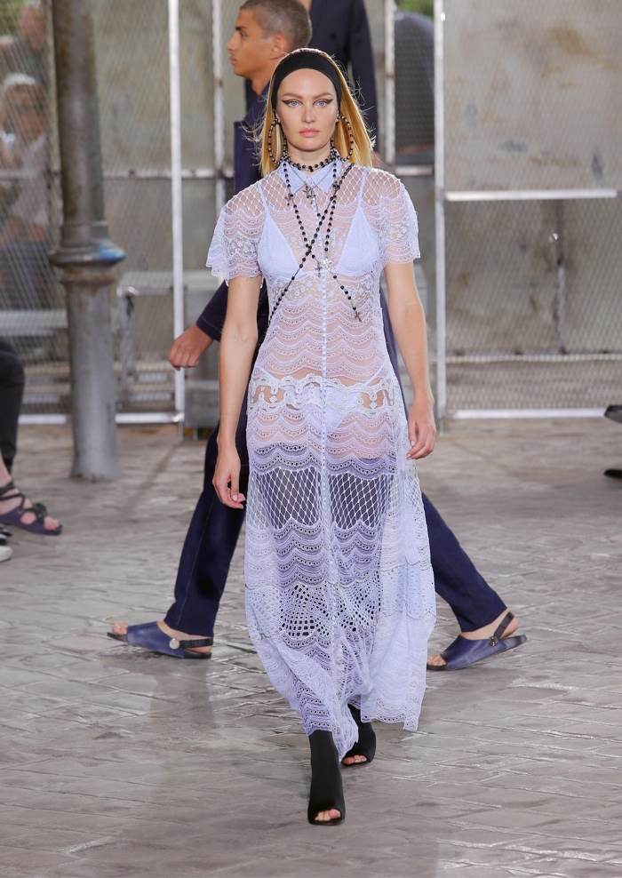 Candice Swanepoel walks Givenchy's spring 2016 menswear show in Paris