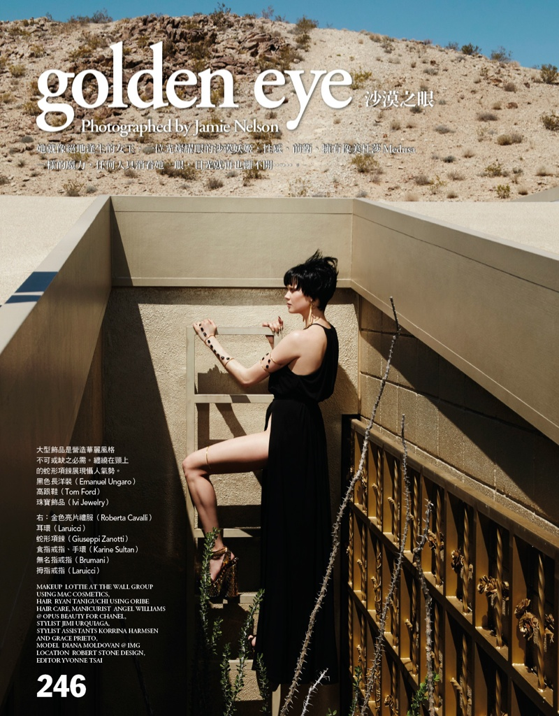 Diana Moldovan poses in an editorial for Vogue Taiwan photographed by  Jamie Nelson