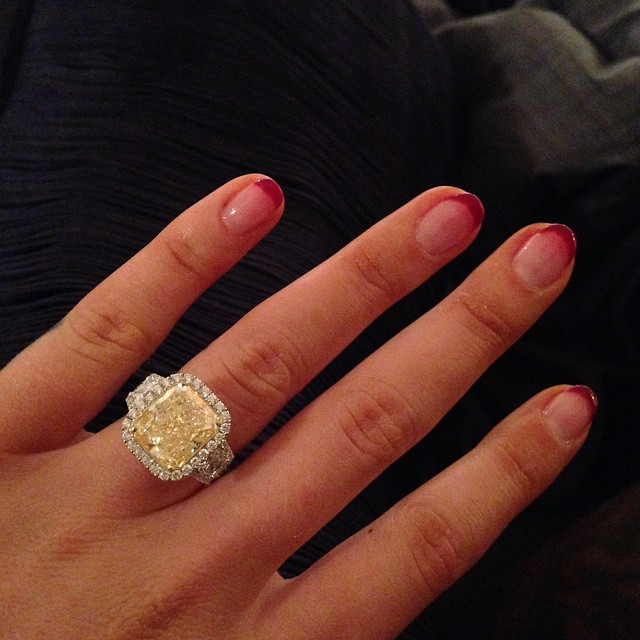 Iggy Azalea announced her engagement by posting a photo of her 10.43 carat ring.