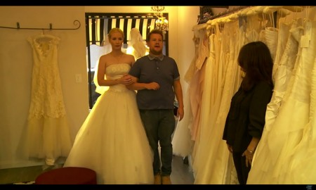 Iggy Azalea tries on wedding dresses with James Corden