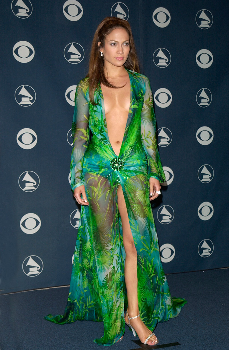 Jennifer Lopez made controversy with this skin baring Versace dress at the 2000 Grammy's. Photo: Featureflash / Shutterstock.com