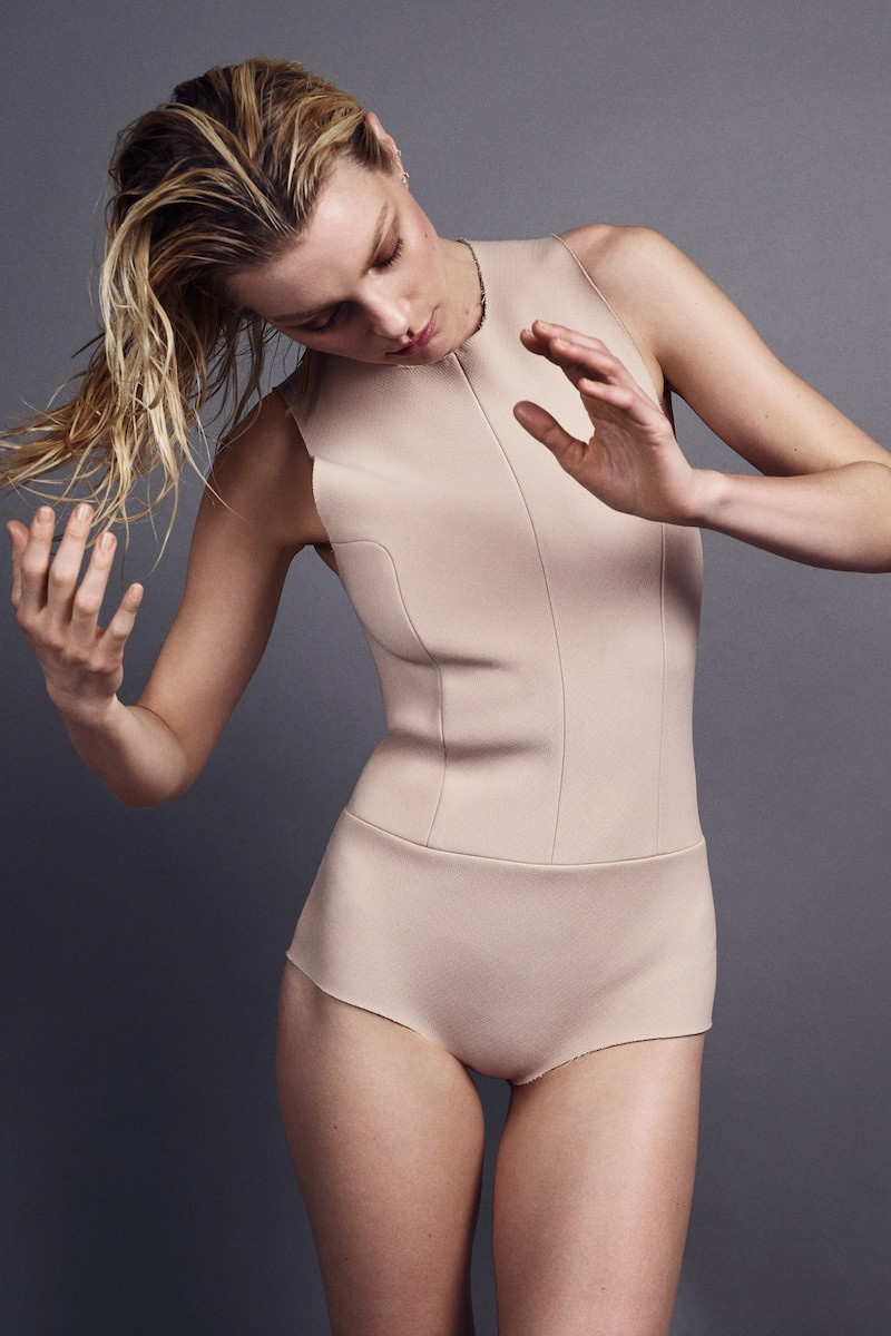 Jessica models a nude colored bodysuit