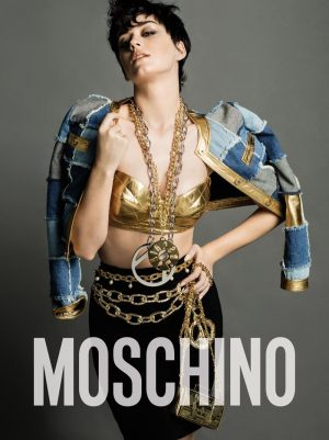 Katy Perry Rocks Short Hair, Lots of Gold in Moschino's Fall Campaign