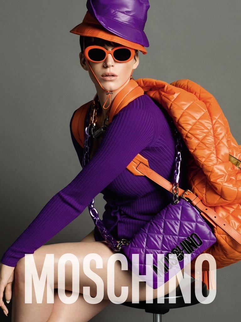 Katy Perry models orange sunglasses from Moschino