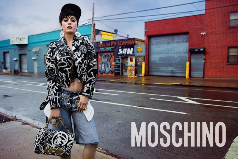 Katy shows off attitude in Moschino's 90s hip-hop inspired designs