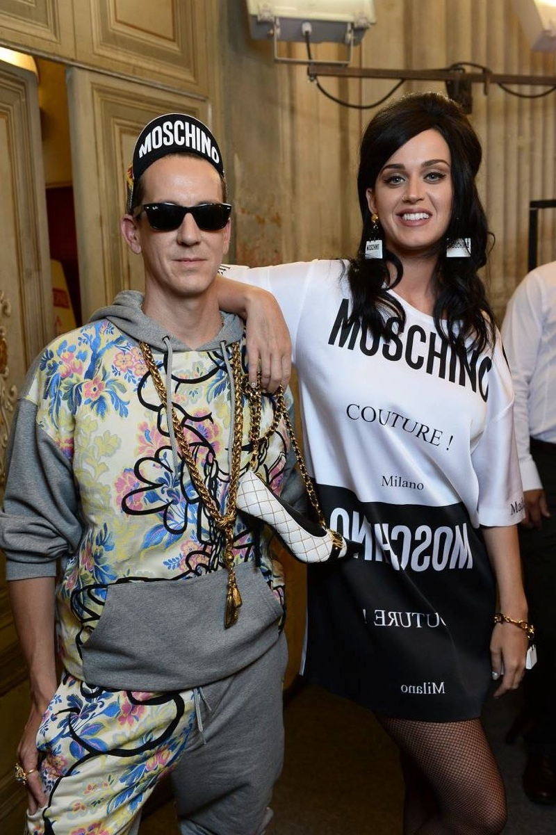 Jeremy Scott and Katy Perry at Moschino's Pitti Uomo show in Florence.