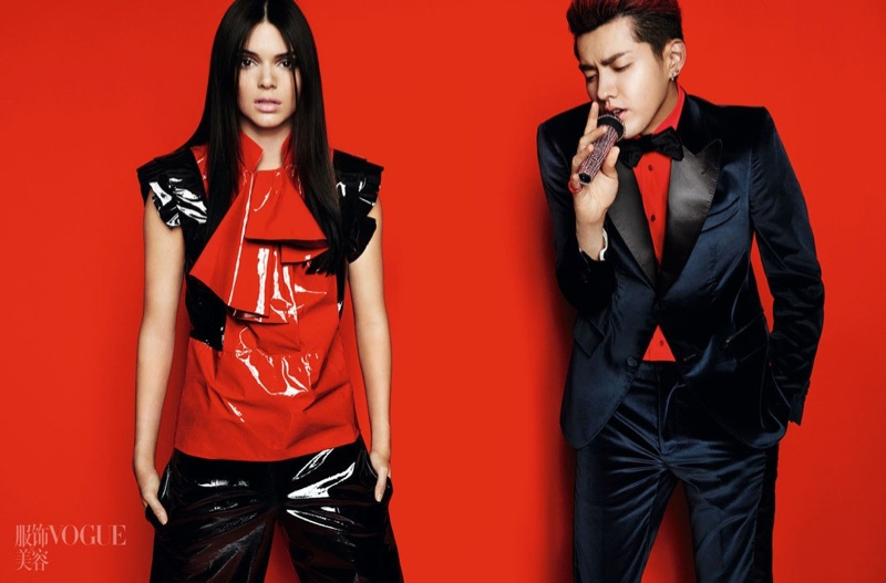 Kendall sports a black and red top with matching pants while Kris suits up