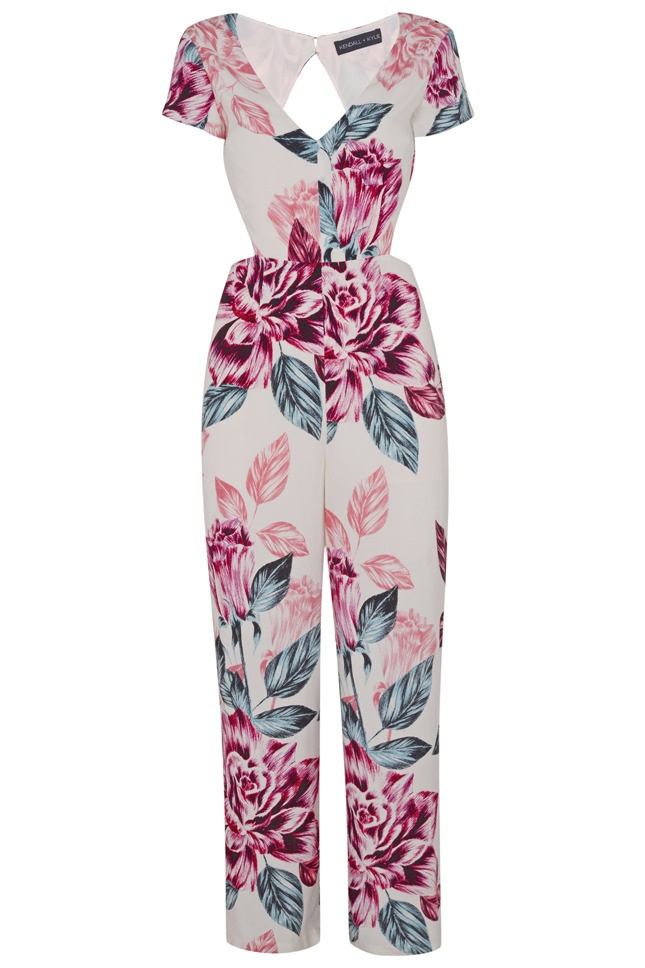 A floral print jumpsuit from the Kendall & Kylie Jenner x Topshop collection