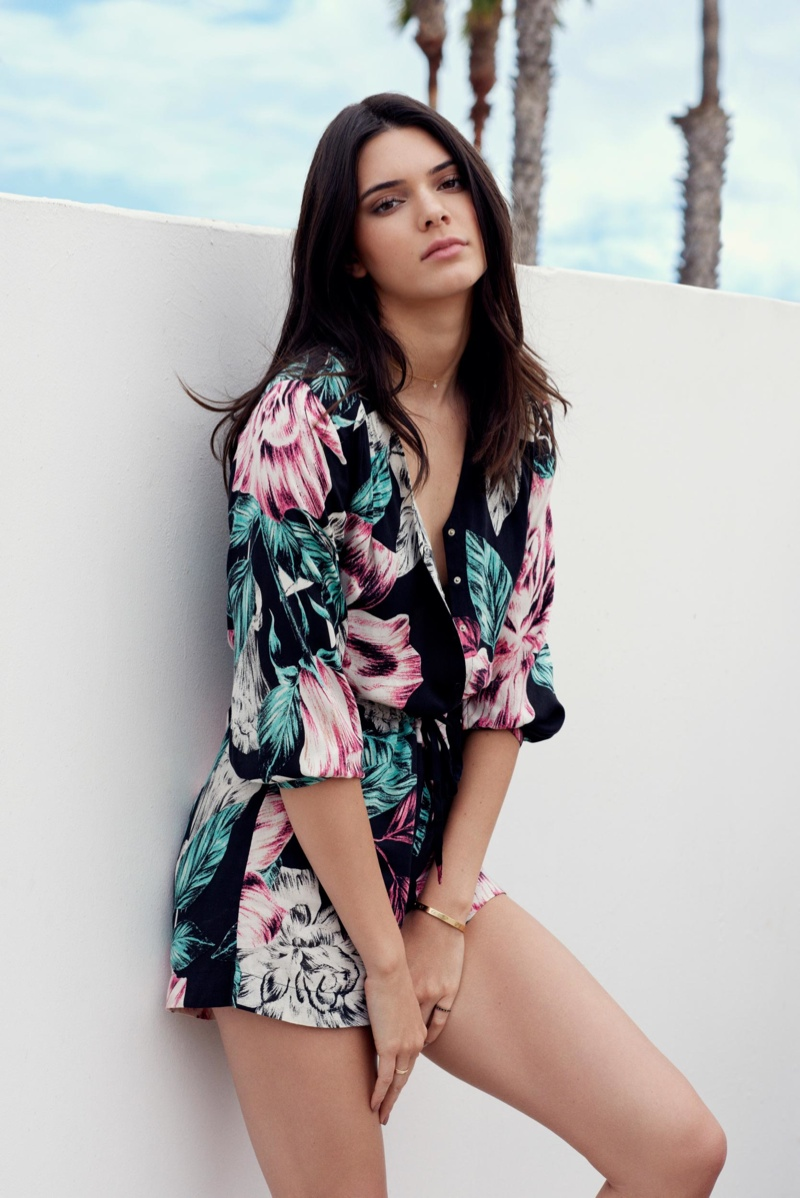 Kylie Jenner in a floral print romper