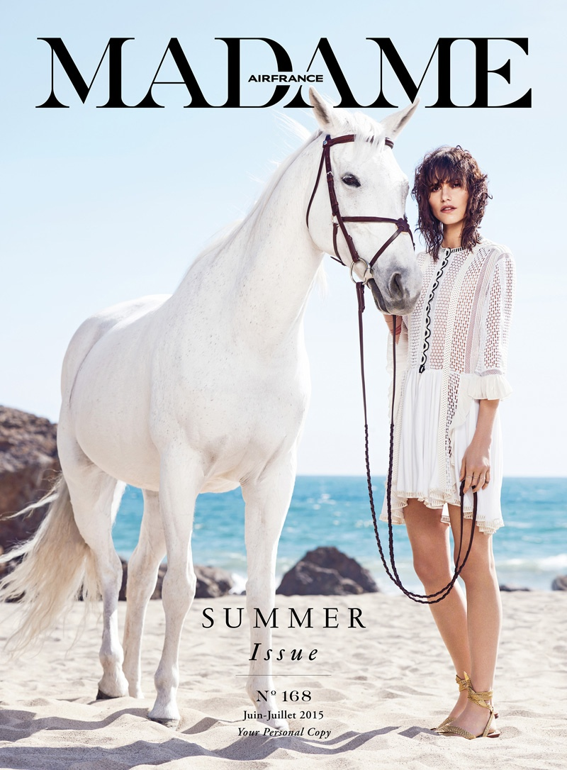 Langley Fox graces the June-July 2015 cover of Air France Madame