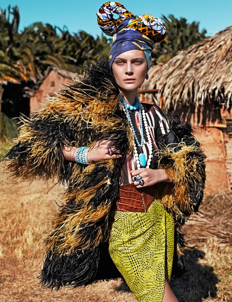 Marina Perez models tribal inspired fashion for Rabat Magazine photographed by Xavi Gordo