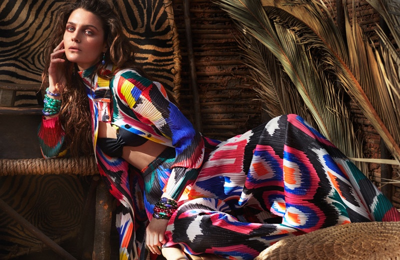 Marina wears artful prints with this jacket and skirt combination
