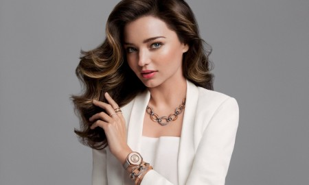 Miranda Kerr models a Swarovski necklace and watch in fall 2015 campaign