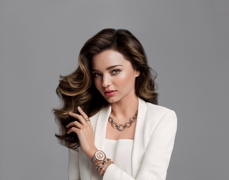 Miranda kerr models a swarovski necklace and watch in fall 2015