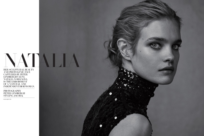 Photographed by Peter Lindbergh, Natalia wears the latest from Dior