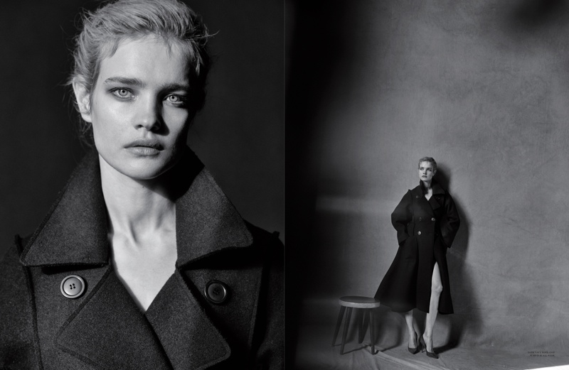 Natalia wears a dior trench coat in the editorial