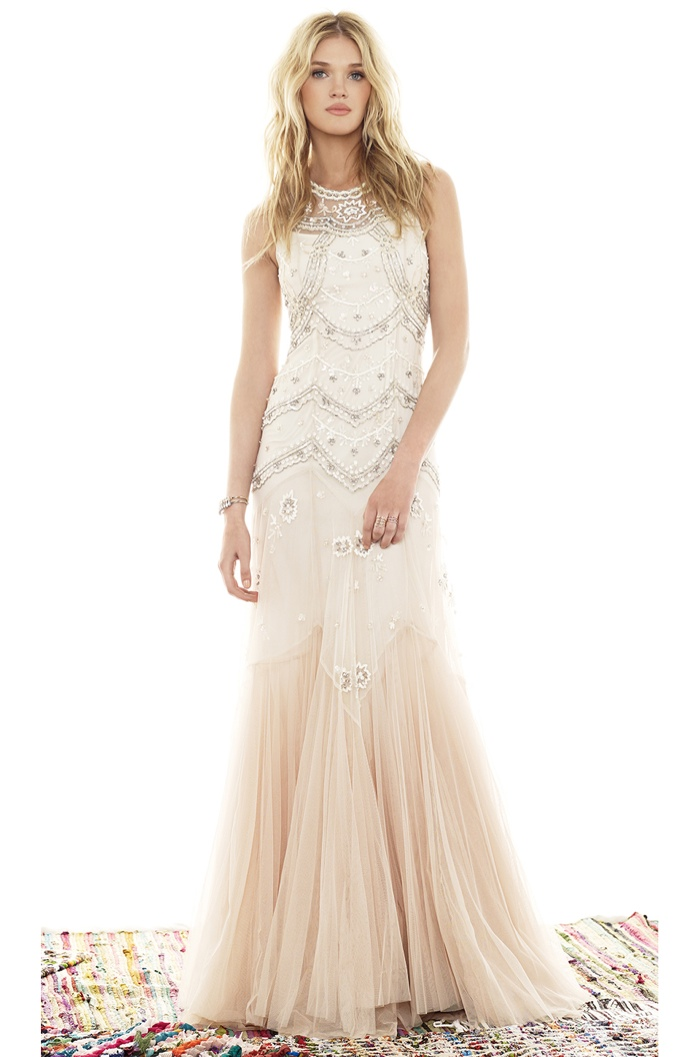 Needle & Thread Tulle V-cut Gown in Cream, Dust & Pink available for $799.00