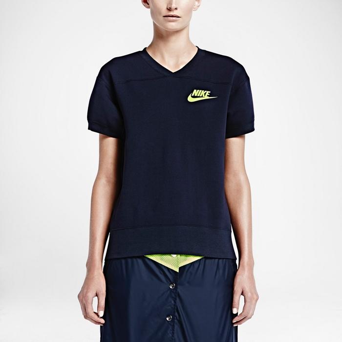 Nikelab x sacai Tech Fleece Short Sleeve Crew Neck Sweatshirt available for $250