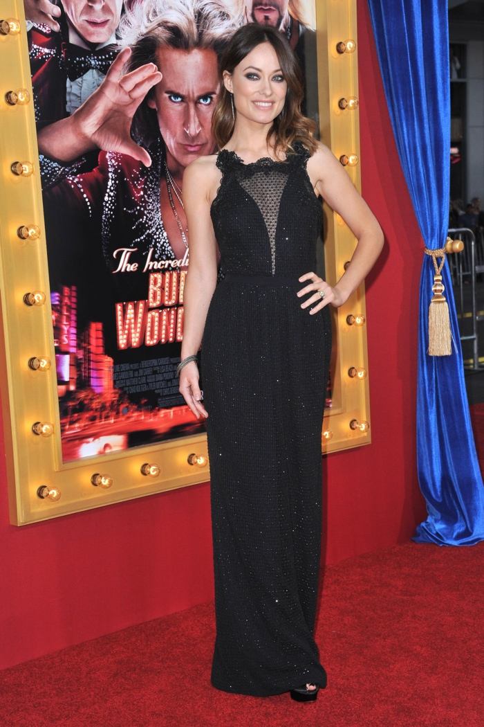 Olivia Wilde was a lady in black wearing a Gucci dress at The Incredible Burt Wonderstone movie premiere in 2013. Photo: DFree / Shutterstock.com