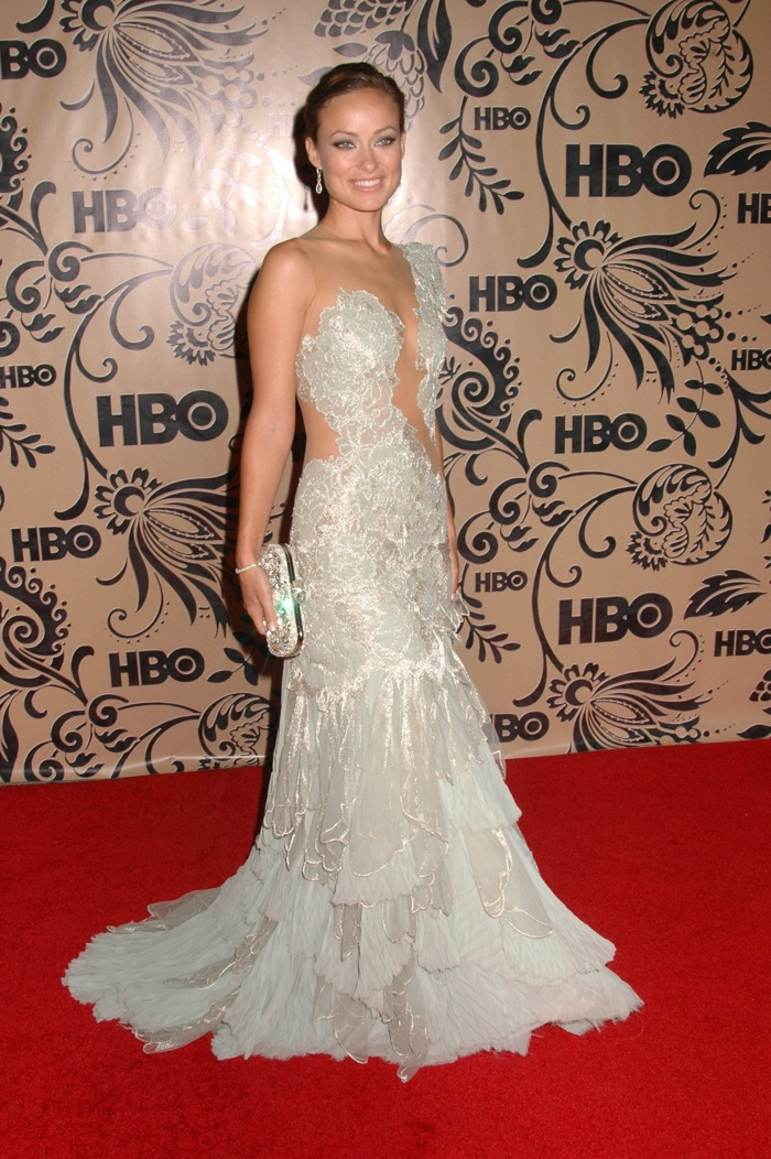 Olivia Wilde was gilded in Marchesa at an Emmy Awards after party in 2009. Photo:  s_buckley / Shutterstock.com