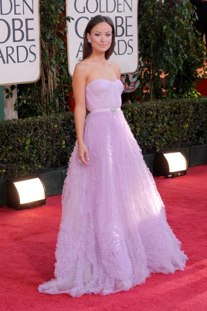 Olivia Wilde was a pastel dream in a lavender colored Reem Acra gown at the 2009 Golden Globes. Photo: s_buckley / shutterstock.com