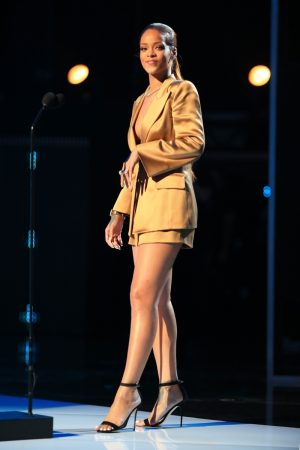 Rihanna Rocks an Armani Tuxedo Jacket (and Little Else) at the BET Awards