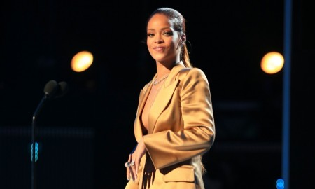 Rihanna wears Armani tuxedo jacket and shorts at the 2015 BET Awards. Photo: Getty Images for BET