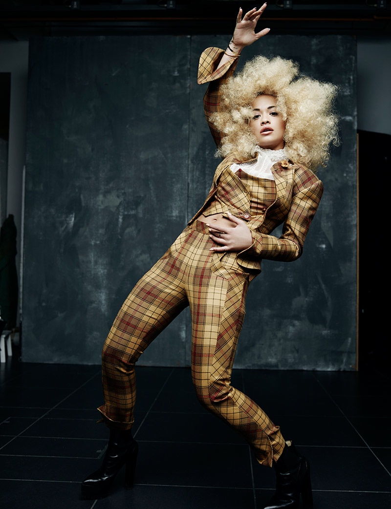Rita also sports a plaid suit from Vivienne Westwood. Photo: Rankin