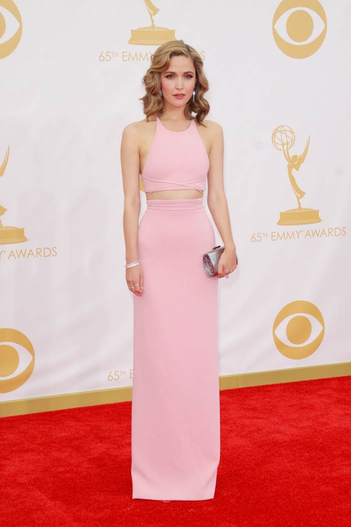 Rose bared some skin in a Calvin Klein Collection crop top with a matching skirt at the 2013 Emmy Awards. With blonde highlights and glamorous waves, the look hit all the right notes. Photo: Featureflash / Shutterstock.com