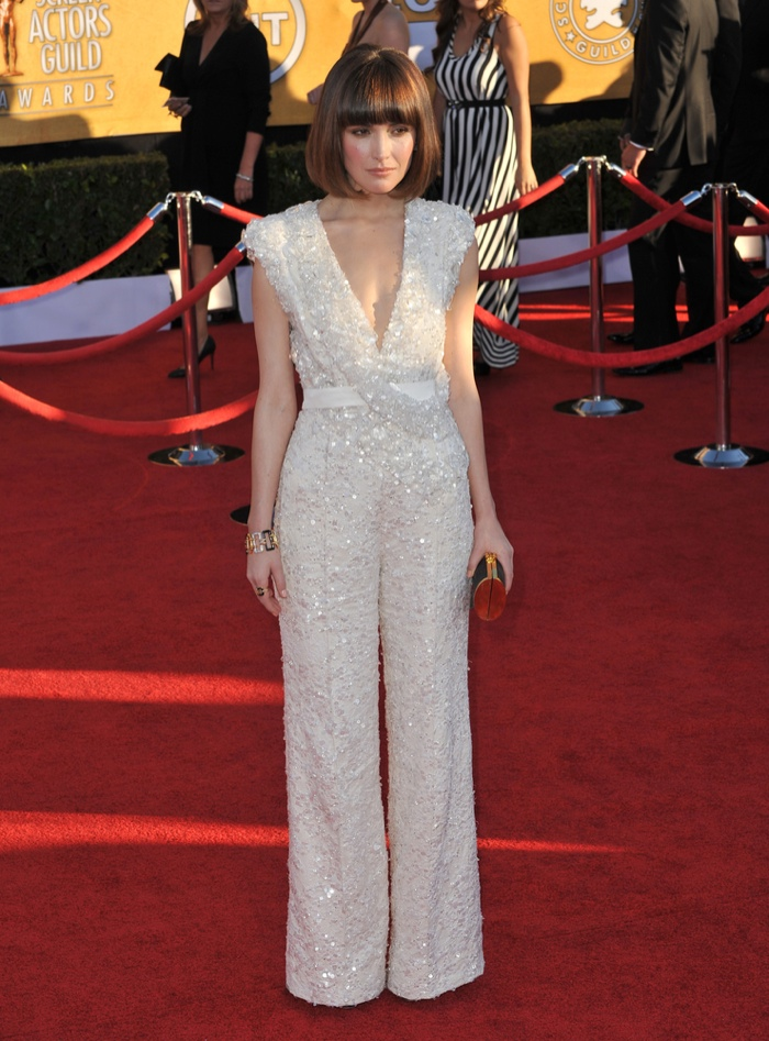 With her hair in a short bob, Rose Byrne shined in an embroidered white jumpsuit from Elie Saab at the 2012 SAG Awards. Photo: Featureflash / Shutterstock.com