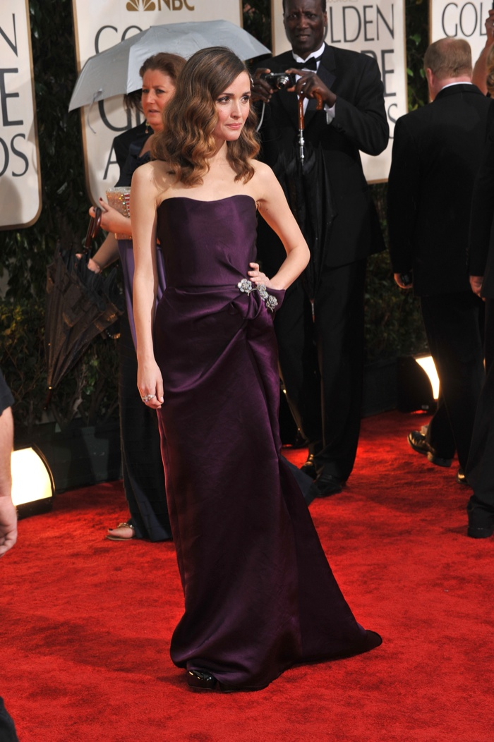 Rose looked divine in a purple strapless satin dress designed by Lanvin. Photo: Jaguar PS / Shutterstock.com
