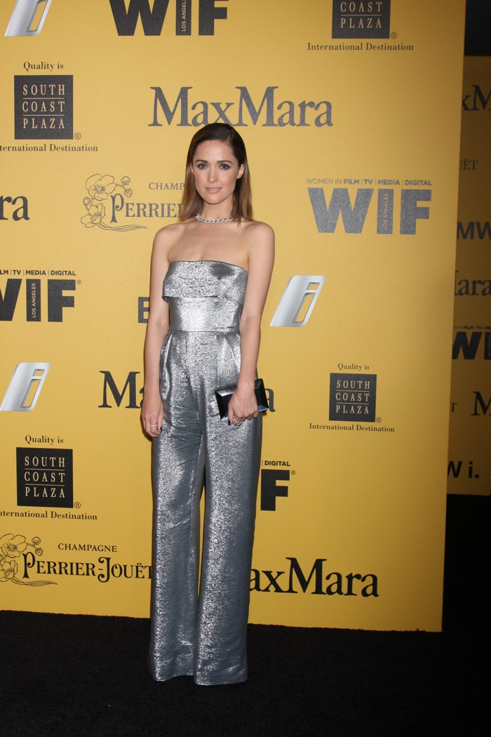Rose Byrne opted for another glittering look with a silver lame MaxMara jumpsuit at the label's Women in Film event. The Australian actress impressed with slicked back coif as well. Photo: Helga Esteb / Shutterstock.com