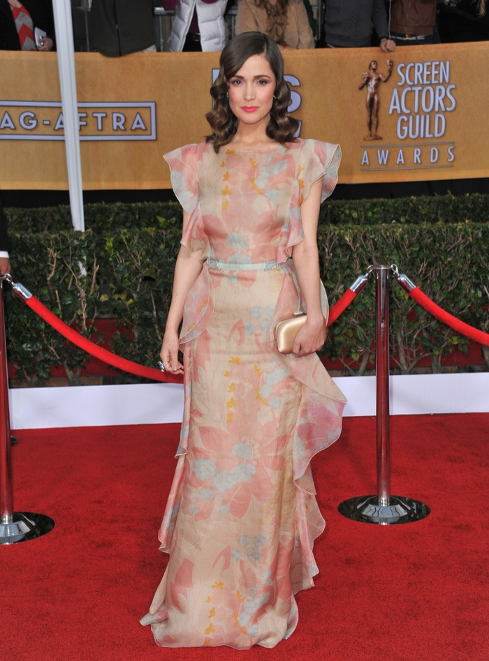 Rose Byrne went retro-inspired in a pastel colored printed gown from Valentino at the 2013 SAG Awards. She paired the look with a wavy hairstyle. Photo: Featureflash / Shutterstock.com