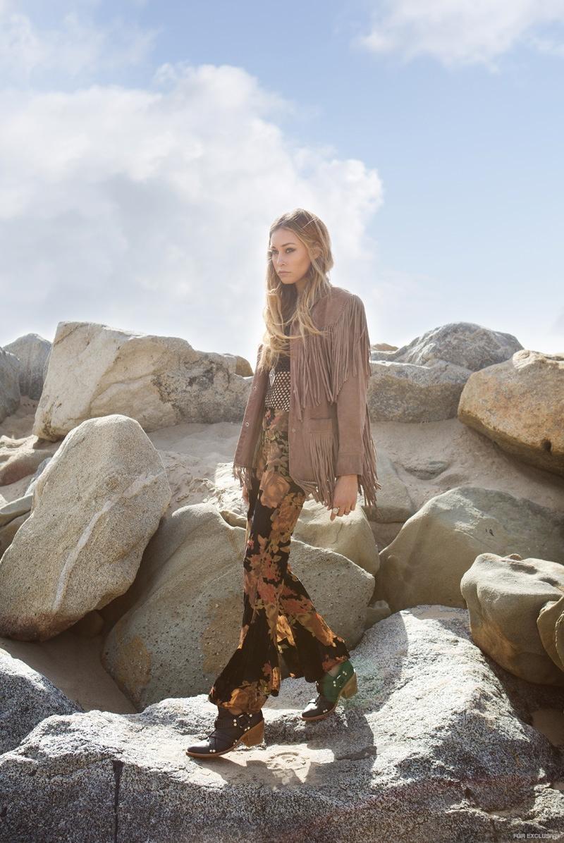 Cait wears Pants Flynn Skye, Jewelry Vanessa Mooney