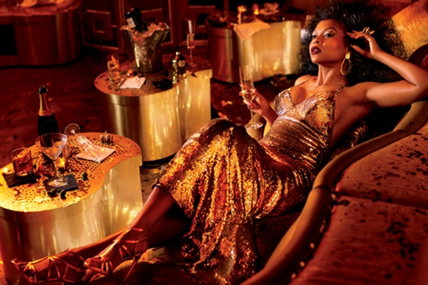 Taraji delivers pure glamour in gold dress