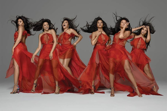 Taraji looks red hot in a glamorous gown