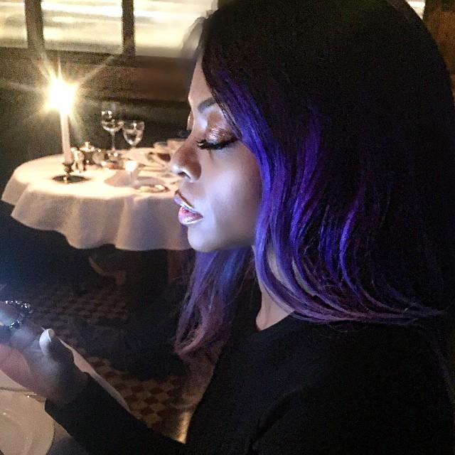 Taraji P. Henson with purple hairstyle