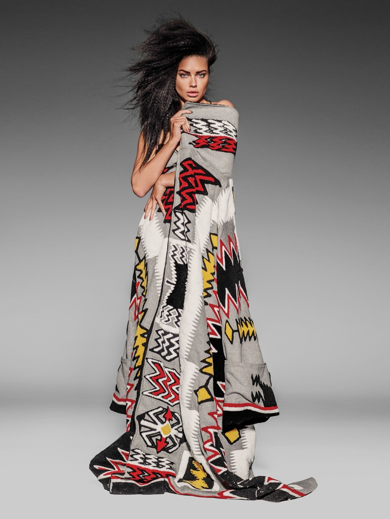 Adriana Lima Models Graphic Prints for Cover Story of Vogue Mexico