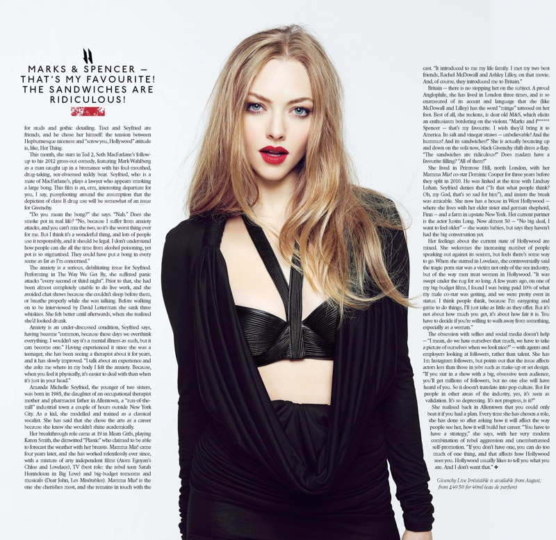 Amanda Seyfried Stars in Sunday Times Style, Talks Making Less Than Male Co-Stars
