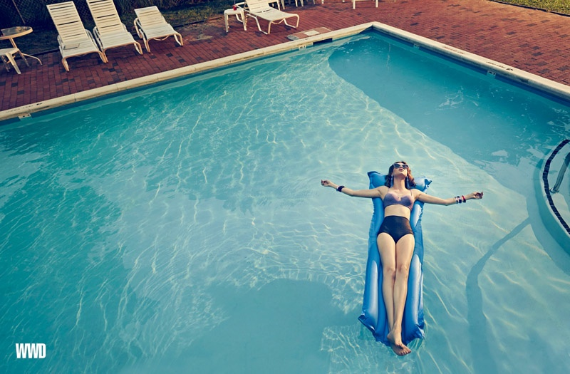Anais Pouliot Lounges in Retro-Inspired Swimwear for An Le in WWD