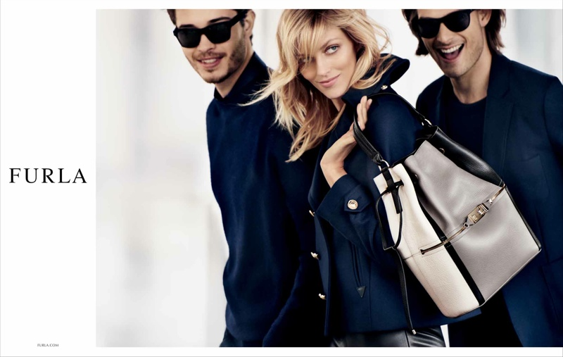 Anja Rubik is All Smiles in Furla's Fall 2015 Campaign
