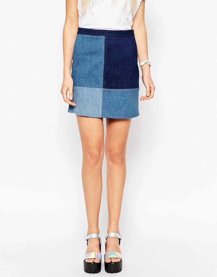 Wanted: ASOS' Denim Patchwork Mini Skirt