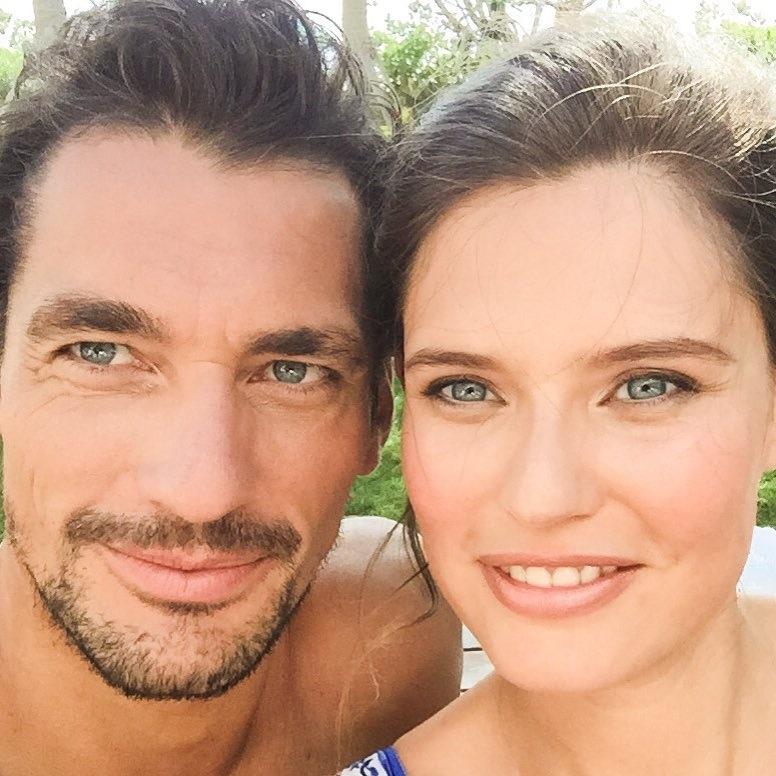 Models David Gandy & Bianca Balti take a selfie in Miami.