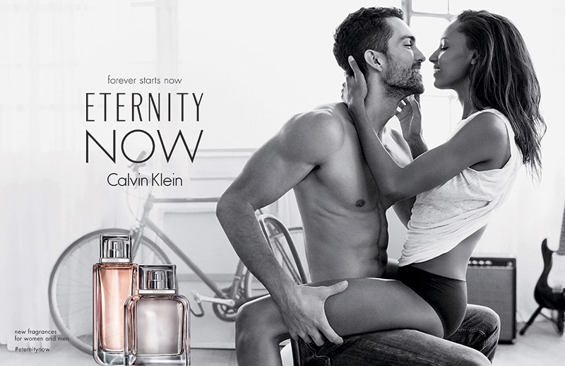 Jasmine Tookes and Tobias Sorensen in Calvin Klein Eternity Now fragrance advertising campaign