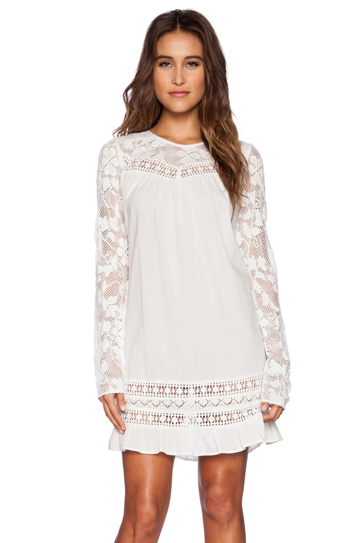 Candela 'Gretel' White Lace Long-Sleeve Dress available for $264.00