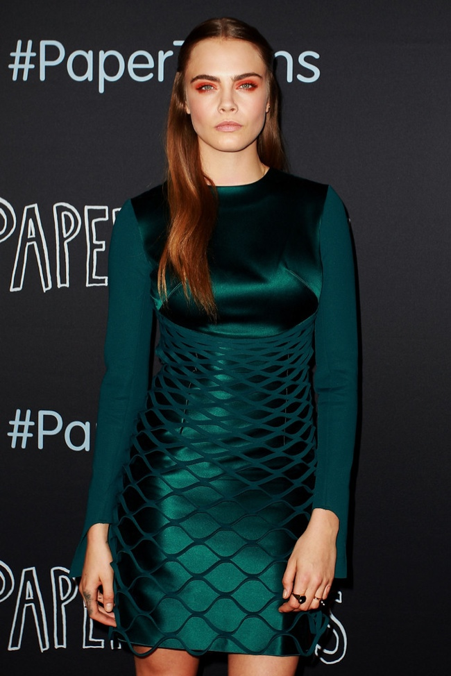 Cara Delevingne wears green Dion Lee dress at Paper Towns Sydney premiere