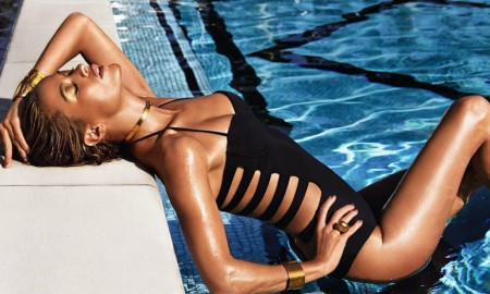 Model Carolyn Murphy for Estee Lauder 'Bronze Goddess'