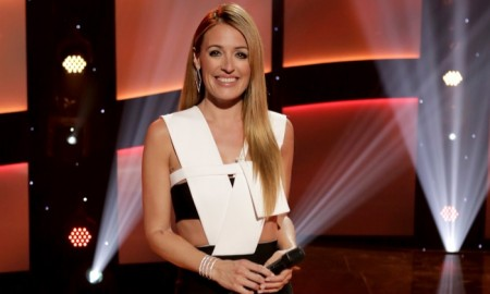 Cat Deely in Mugler dress during taping of So You Think You Can Dance