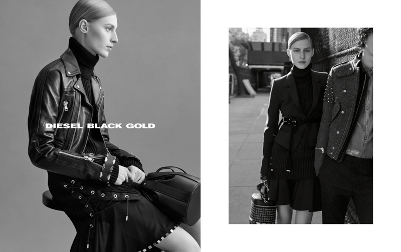 Julia Nobis Dons Cool Tailoring for Diesel Black Gold's Fall 2015 Ads